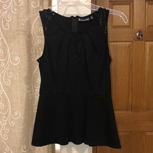 Black peplum tank top